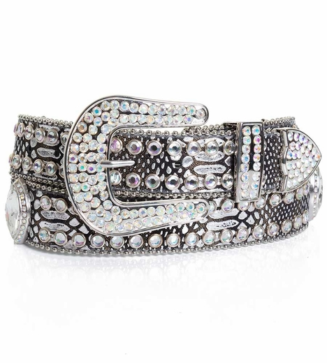 Kamberley Womens Metallic Faux Lizard Bling Belt - Pewter (Closeout)
