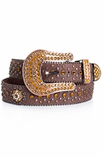 Kamberley  Womens Berry Concho Belt - Brown (Closeout)