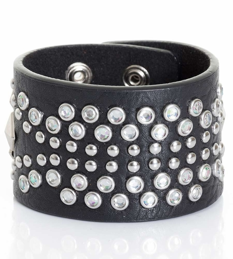 Kamberley Womens Southwest Studded Snap Cuff Bracelet - Black (Closeout)