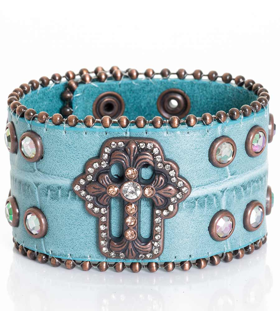 Kamberley Womens Copper Cross Snap Cuff Bracelet - Turquoise