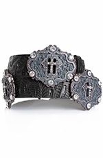 Kamberley Womens Cross Concho Belt - Black (Closeout)