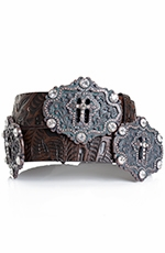 Kamberley Womens Cross Concho Belt - Brown (Closeout)