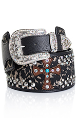 Kamberley Womens Faux Cowhide Wide Waist Cross Belt - Black