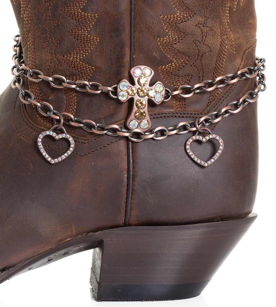 Kamberley Womens Heart & Cross Boot Chain - Copper
