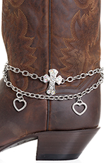 Kamberley Womens Heart & Cross Boot Chain - Silver