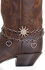 Kamberley Womens Heart & Spur Rowel Boot Chain - Bronze
