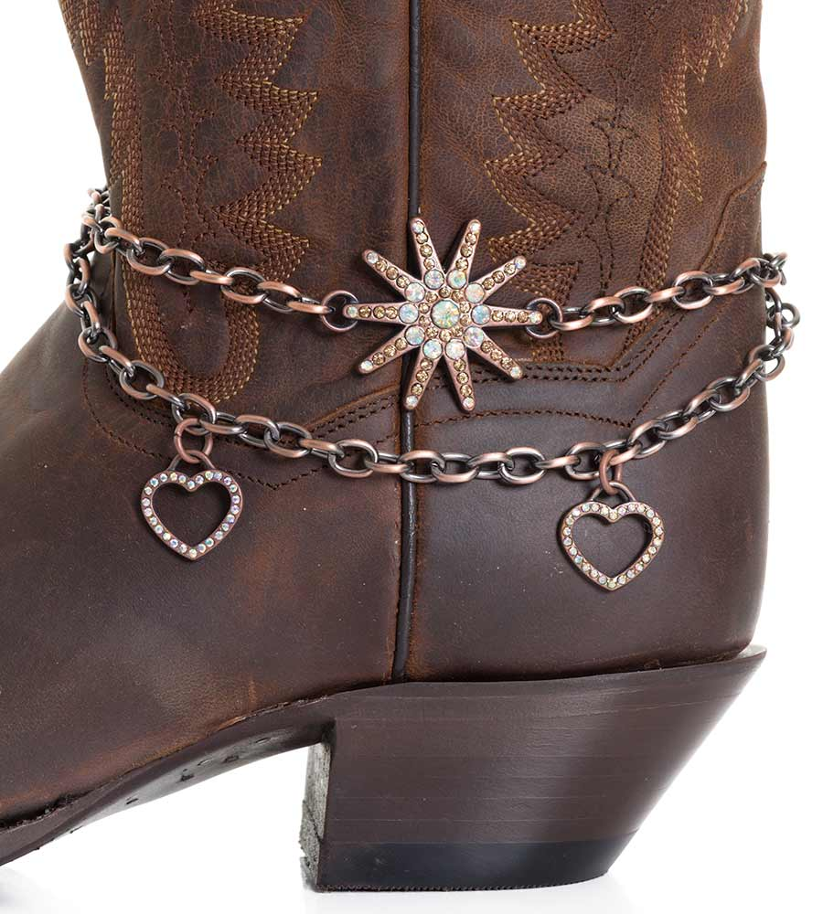 Kamberley Womens Heart & Spur Rowel Boot Chain - Copper