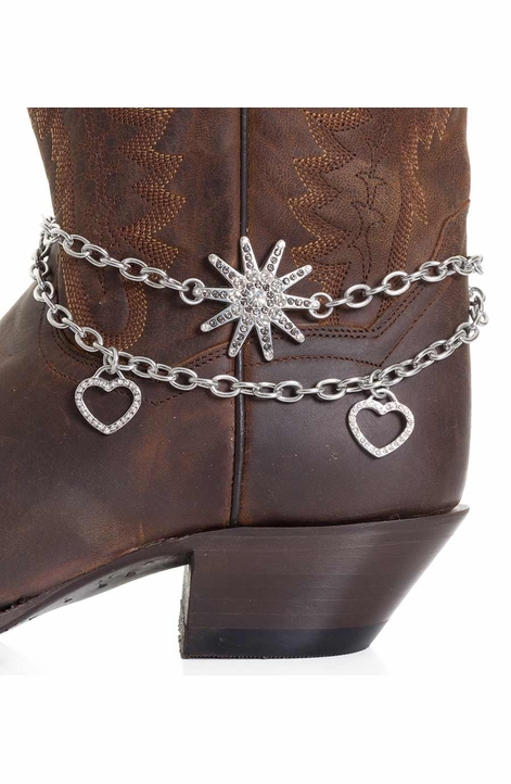 Kamberley Womens Heart & Spur Rowel Boot Chain - Silver