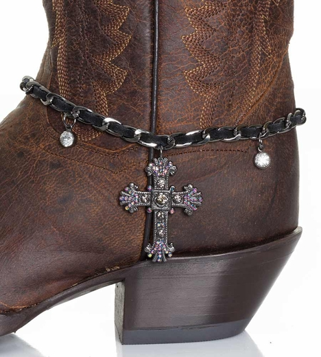 Kamberley Womens Laced Cross Boot Chain - Black (Closeout)