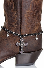 Kamberley Womens Laced Cross Boot Chain - Black