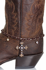 Kamberley Womens Laced Cross Boot Chain - Brown (Closeout)