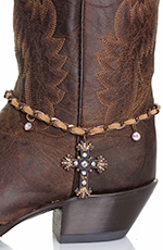 Kamberley Womens Laced Cross Boot Chain - Tan (Closeout)