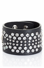 Kamberley Womens Southwest Studded Snap Cuff Bracelet - Black