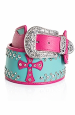 Kamberley Womens Wide Waist Cross Belt - Turquoise (Closeout)
