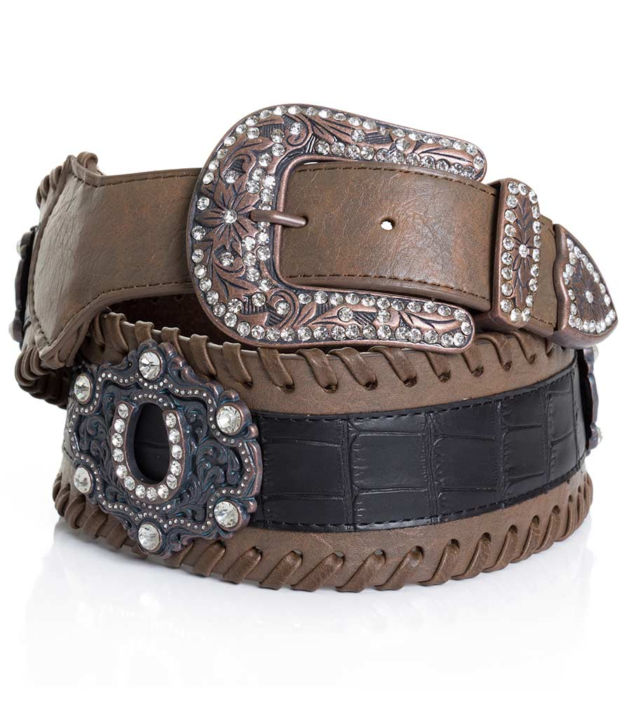 Kamberley Womens Wide Waist Horseshoe Concho Belt - Brown