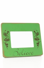 "Kender West ""Believe"" Wooden Picture Frame with Floral Design - 2 Colors"