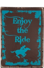 "Kender West ""Enjoy the Ride"" Rustic Wooden Wall Sign - Brown/Turquoise"