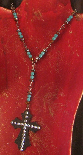 Kender West Turquoise Rosary Necklace with Cross (Closeout)