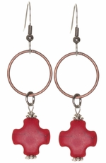 Kender West Women's Copper Dangle Hoop Earrings with Cross Pendant - 3 Colors