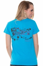 "Kender West Women's ""Grace"" Short Sleeve Tee Shirt - Turquoise (Closeout)"
