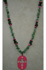 Kender West Women's Green and Pink Stone Necklace with Cross (Closeout)
