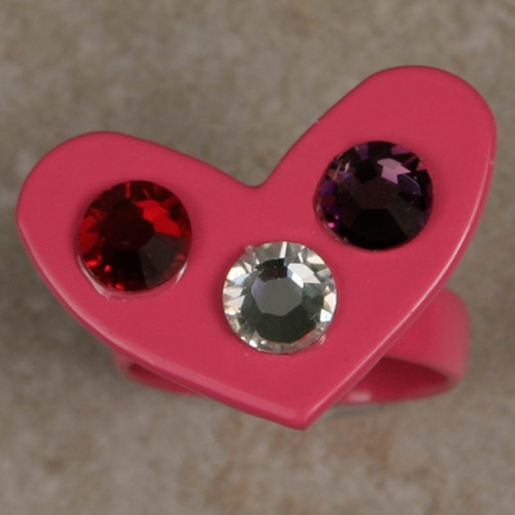 Kender West Women's Heart Ring with Crystals - Pink (Closeout)