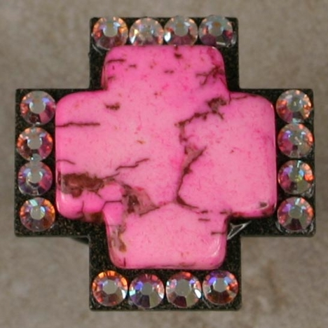 Kender West Women's Pink Stone Cross with Crystals (Closeout)
