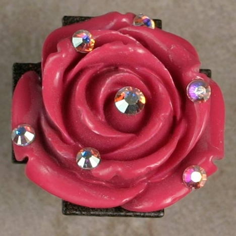 Kender West Women's Rose Ring with Crystals - Pink/Red (Closeout)
