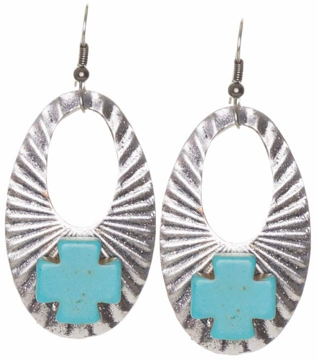 Kender West Women's Silver Oval Hoop Dangle Earrings with Stone Cross - 2 Colors