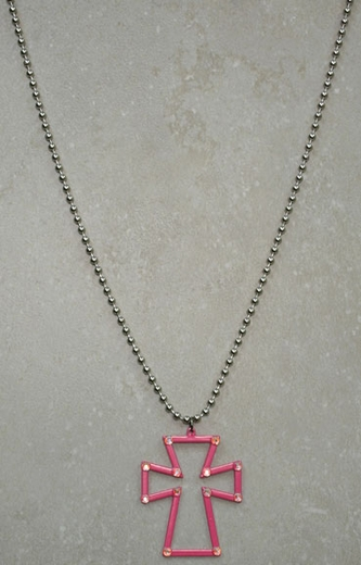 Kid's Lil Chick Cross Necklace with Rhinestones (Closeout)