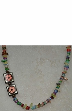 Kid's Lil Chick Multi Colored Chip Necklace with Flower Beads