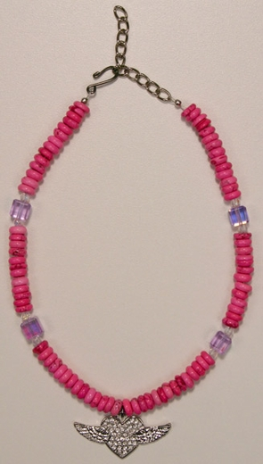 Kid's Lil Chick Pink Bead Necklace with Winged Heart (Closeout)