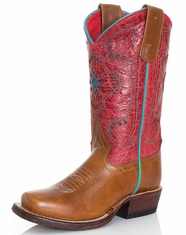 Kids Macie Bean Square Toe Boots - Whiskey Bent/Red Sinsation