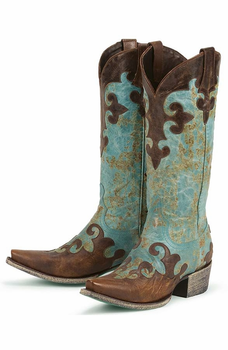 Lane Boots Women's 'Dawson' Cowboy Boots - Turquoise/ Brown