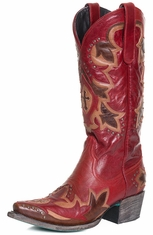 Lane Women's Stella Cowgirl Boots with Studs and Overlay - Red/Brown