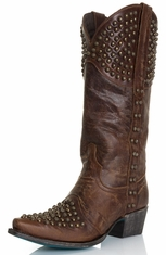 Lane Womens Brass Studs Rock On Cowgirl Boots - Brown