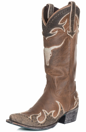 Lane Womens Steer It Up Snip Toe Studded Cowboy Boots - Brown (Closeout)