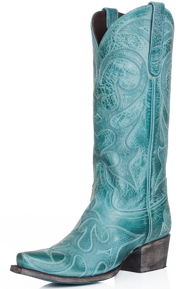 "Lane Womens ""Love Sick"" Snip Toe Cowboy Boots - Turquoise"