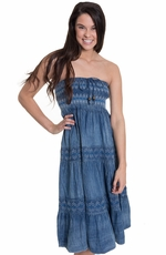 Lapis Womens Denim Strapless Dress/Maxi Skirt
