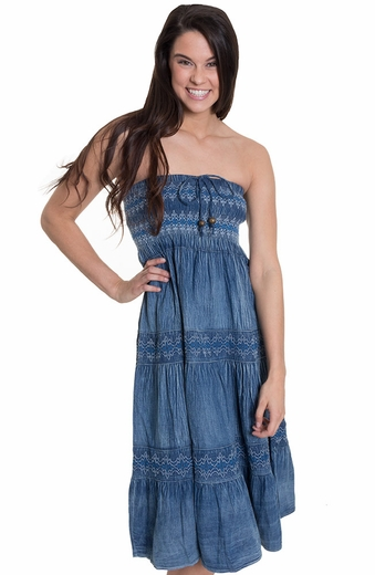 Lapis Womens Denim Strapless Dress/Maxi Skirt (Closeout)