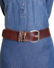 Leatherock Women's Criss Crossed Loop Belt - Brown