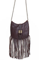 Leatherock Women's Kodiak Crossbody Fringe Purse - Brown