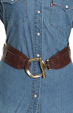 Leatherock Womens Pull Through Waist Belt - Brown