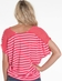 Lena Womens Stripe Top with Sheer Shoulder Trim