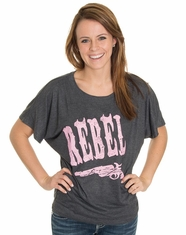 Let 'Er Buck Women's Rebel Dolman Top - Charcoal