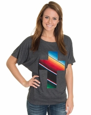 Let 'Er Buck Women's Serape Cross Dolman Top - Charcoal