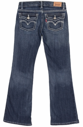 Levi's Girls Taylor Boot Cut Jeans with Thick Stitch Pocket Flaps - Blue Wonder
