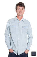 Levi's Mens Long Sleeve Barstow Western Snap Shirt - Dark Wash or Light Wash