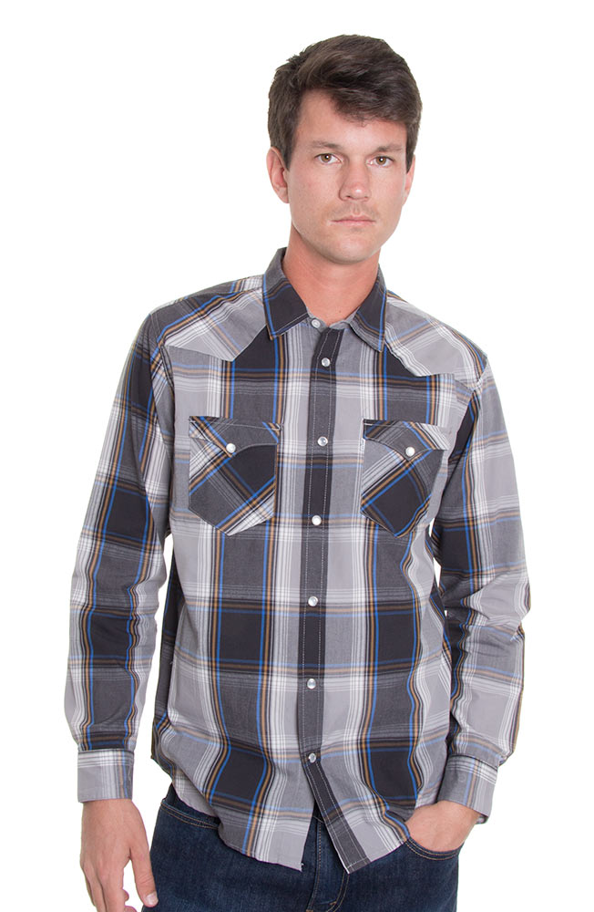 Levi's Mens Long Sleeve Hide Snap Western Shirt - Caviar