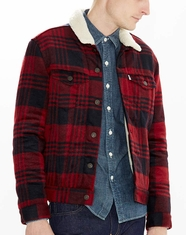 Levi's ® Men's Sherpa Trucker Jacket - Tibetan Red Plaid